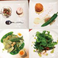 前菜・カニクリームコロッケ、甘長唐辛子のオーブン焼き・タラのサルサベルべ・牛フィレ肉のセージバターソース