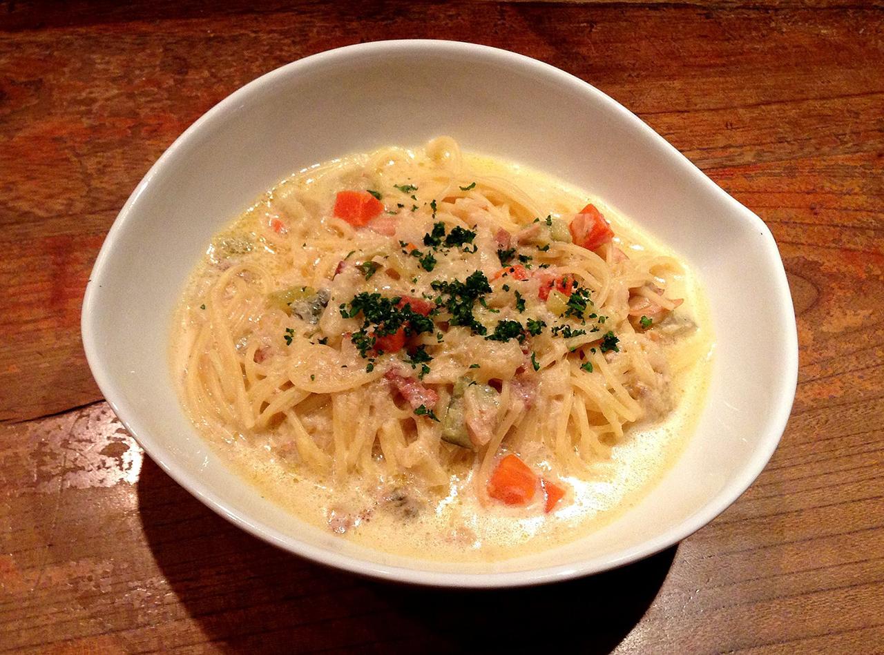 クラムチャウダーのスープスパゲッティー